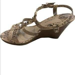 Geox Wedge Snake Print Strappy Leather Sandals, 39